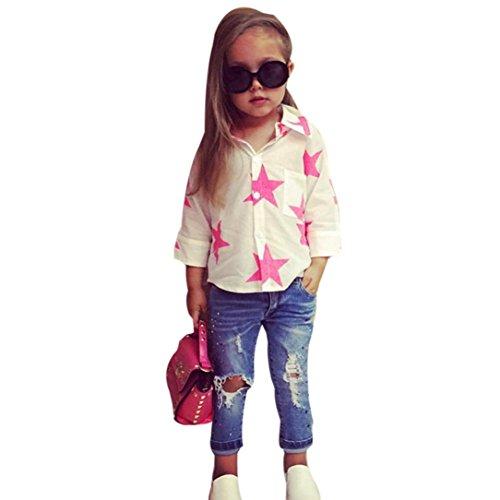 ❥Elecenty 2PCS Junge Outfit Set,Bekleidungssets Mädchen Kleidung Set Oberteile Langarm T-Shirt Star Drucken Tops Hemd+Lange Demin Hose Loch Jeans Baby Girl Tägliche Prinzessin Kleidung (120, Weiß)