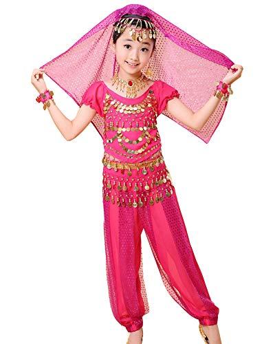 Guiran Kinder Mädchen Damen Bauchtanz Kleidung Tanzkleid Ägypten Indische Tanz Kleidung Rose 2XL Höhengeeignet 141-150CM (Indische Tanz Kostüm Kinder)
