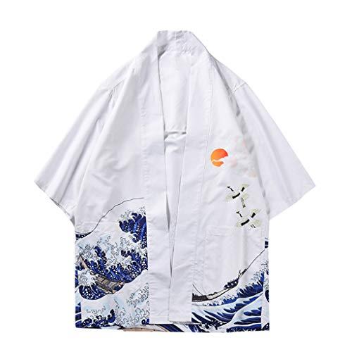 Cardigan Herren Mode Jacke Kimono Strickjacke Liebhaber Individualität 3D Print Top Bluse Sauna Spring Sommer Herbst Kleidung Japanischer Stil Mantel Sonnencreme Strand Spa(Weiß B.XXL) -