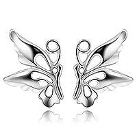 TALQF Butterfly Earrings Hollow Studs Earrings Sterling Silver Girls Earrings Silver White Q2E7NF
