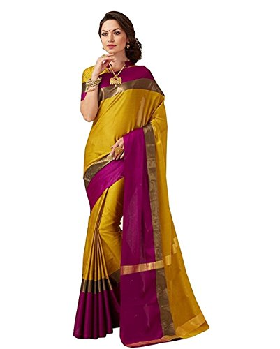 Indian Beauty Cotton Saree with Blouse Piece (IB-1032_Yellow_Free Size)
