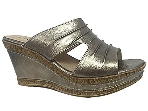 Ladies Cushion Walk Leather Lined Peep Toe Mid Wedge Heel Slip On Mules Sandals Size 3-8 (UK 8, Pewter)