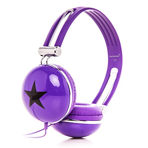 RockPapa, verstellbare Stereo-Kopfhörer mit Stern-Motiv, Over-Ear-Kopfhörer mit weichen Ohrpolstern, für Jungen und Mädchen, Jugendliche und Erwachsene. violett