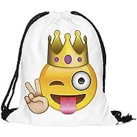 Bolsa de Cordón Blanca Emoji Crazy King