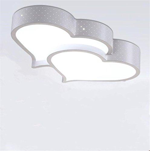 FFJTS Lampe de Plafond en Forme de LED + Lampes Chaudes en Fer forgé de Double Coeur 59 * 37 * 11cm36W