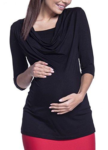 Happy Mama. Femme Top de Maternité d'Allaitement Encolure Double Couches. 269p Noir