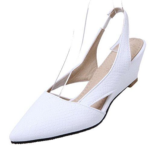 AgooLar Damen PU Ziehen auf Schließen Zehe Niedriger Absatz Kariert Pumps Schuhe, Weiß, 36