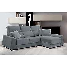 Sofá tres plazas más chaiselongue reversible con asientos deslizantes tapizado en tela