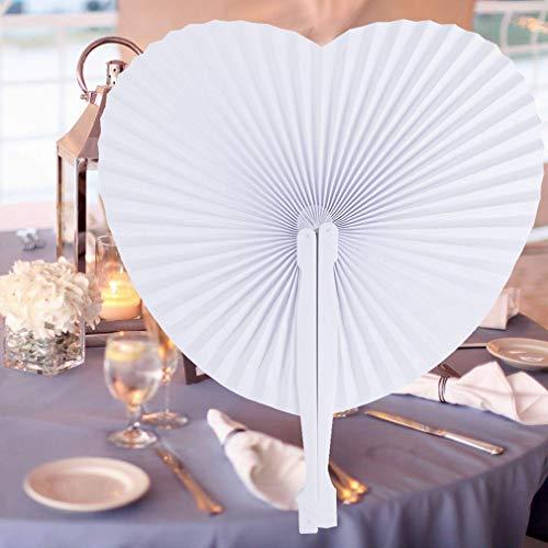 Yying 12pcs White Folding Paper Fans Hand Papier Schubladen für Hochzeit/Party / Party Favors Heart-Malte Zusammensetzung mit Kunststoffgriff