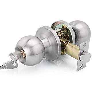Drenky Entrance Lock Satin Stainless Steel Door Knob Door Handle Set - Entrance Key Locking Latch Size 60/70 mm Cylindrical Modern Style Lock, with 3 Keys