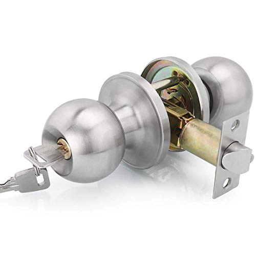 Drenky manopola a sfera per porta d'ingresso in acciaio inox satinato con chiavi, dimensione scrocco 60/70mm