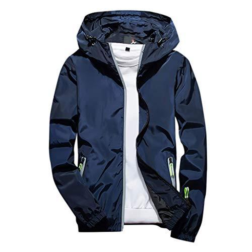 MOTOCO Herrenjacke Herbst und Winter einfarbig lässig große reflektierende Reißverschlusstasche im Freien mit Kapuze Sweatshirt(5XL,Blau)
