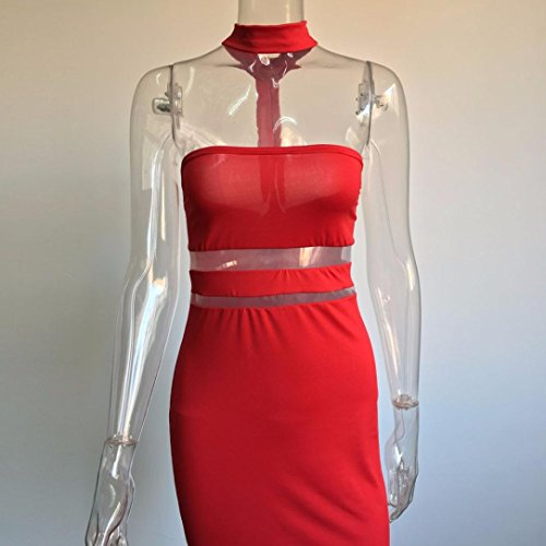 Transer ® Femmes sexy Slim Bodycon Bandage épaule robe Stripless collier robe de soirée Rouge