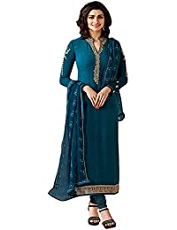 Multi Retail Dark Blue Fancy Georgette Print And Embroidered Unstitched Straight Salwar Suit With Dupatta, Bottom...