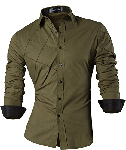 Sportrendy uomo camicie unico drago cinese tatuaggio moda tattoo slim shirts men top jzs044 armygreen xl