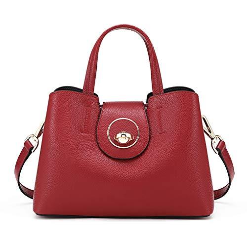 Mueka Damen Tasche, Damen Echtledertasche, Markenhandtaschen,Einfache Lederumhängetasche,Exquisite Planetförmige Metallknöpfe(schwarz/Korallenrot)