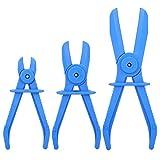 EBTOOLS 3PCS Pinze per fascette stringitubo flessibili in plastica Set di attrezzi per freni Carburante Tubi flessibili per acqua Kit pinze Strumento a mani libere(Blu)