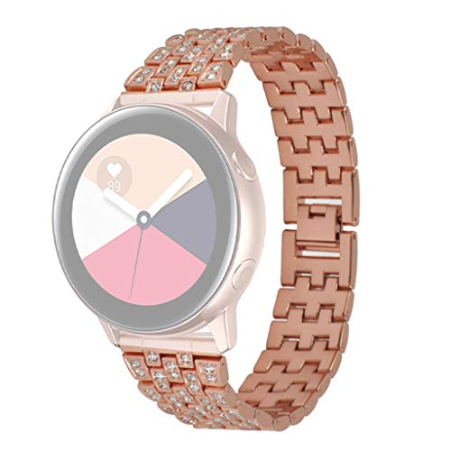 MuSheng Kompatible für Samsung Galaxy Watch Active Bracelet Jewellery Bangle Stainless Steel Rostfreier Stahl Diamond Replacement Strap Geeignet hohl Strass Metall Armband Diamond Film Screen