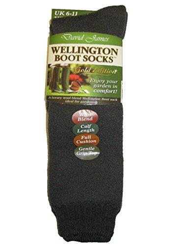 Herren-Socken für Stiefel, 40% Wolle, zum Wandern, Angeln, Größe 41 - 49, Grün - olivgrün - Größe: 40-45 EU - Wellie Warmers