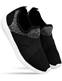 DRUNKEN Women's Shoes, Sports Shoes Womens, Running, Basketball, Sneaker, Walking Casual, Gymwear, Tennis Shoes Without Lace, Badminton Shoes, Mesh Black Shoes for Girl's