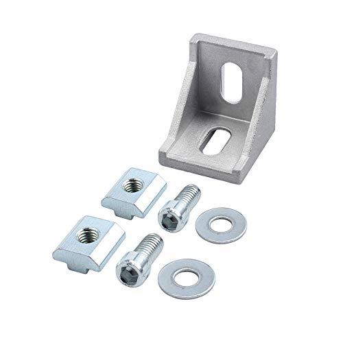 Ein Winkel (eSynic 10× Befestigungsmaterial Winkel Befestigung 40x40&40x80 Nut 8 Raster Streben Aluprofil)