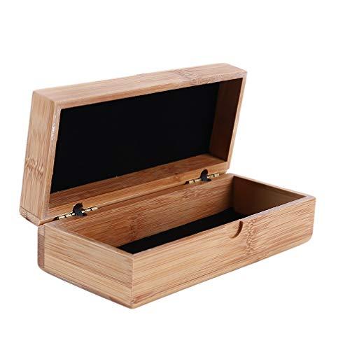 IumerIU Iumer Sonnenbrillen-Box, Bambus-Deckel, Unisex, leicht, Vintage, personalisierbare Aufbewahrungsbox aus Holz