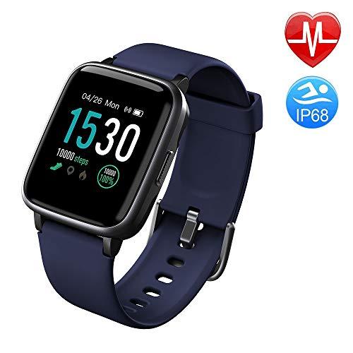 Duang Smartwatch, Bluetooth Fitnessuhr Damen Fitness Tracker Herren, 1,3-Zoll-Farbbildschirm Sportuhr mit Schrittzähler Pulsmesser Schwimmen wasserdicht IP68, iOS Smartwatch Android-Handy (Blue)