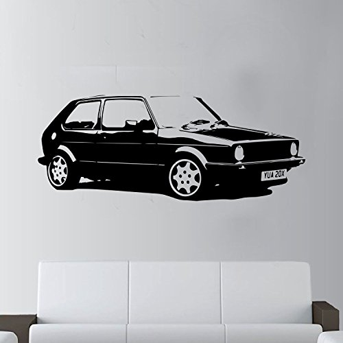 XL groß Auto VW Golf GTI MK1 CLASSIC gratis Rakel. Art Wand sticker/aufkleber, schwarz, Black Xtra Large - 146cm W x 59cm H As Pictured