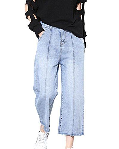 Donna Alto Vita Casual Gamba Larga Denim Jeans Elastico Pantaloni Azzurro Chiaro S