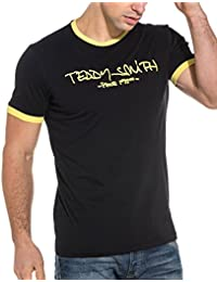 Teddy Smith Yellow Print Contrast Black Tee