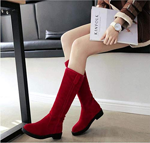 Damenreitstiefel Kniehohe Stiefel mit runder Kappe und niedrigem Blockabsatz von MMYang (Color : Rot, Größe : 42)