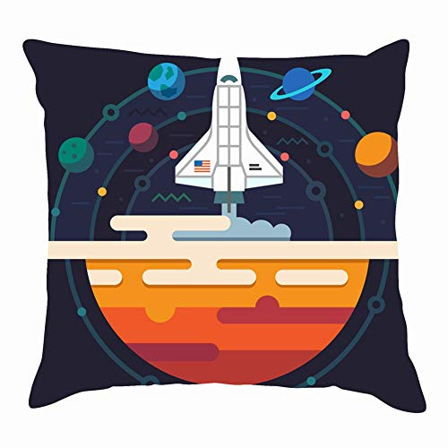dfgi Space Planets solar System Rocket Science Technology Throw Pillow Covers Cotton Linen Cushion Cover Cases Pillowcases Sofa Home Decor 18