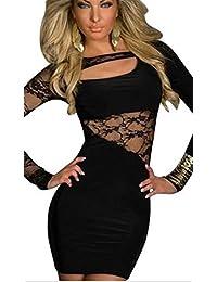 Fashion4Young Mini-robe asymétrique à manches longues effet patchwork Noir Taille S/M 34/36