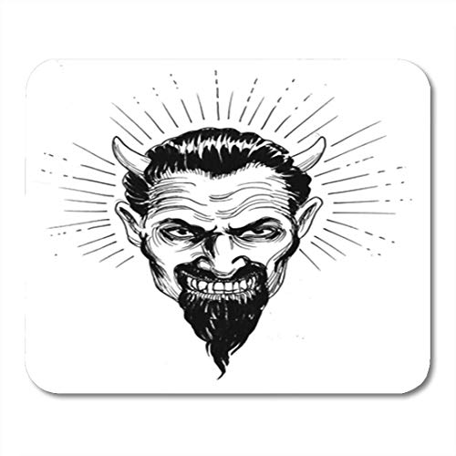XIUZHIZH Gaming Mouse Pad Hand Devil Head Retro Styled Ink Black Burn Cartoon Decor Office Nonslip Rubber Backing Mousepad Mouse Mat Devils Camo