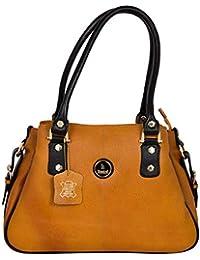 Morya International Pure Genuine Leather Golden Colour Stylish Trendy  Designer Double Handled Big Tote Handbag for 04d1dcd3b8edf