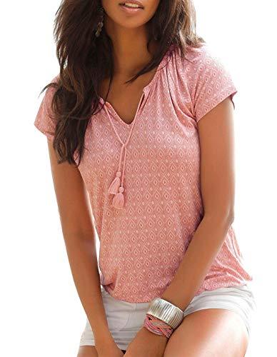 Yidarton T-Shirt Damen V-Ausschnitt Kurzarm Oberteile Sommer Allover Print Neckholder Blusen Shirt Tops (Rosa, XL)