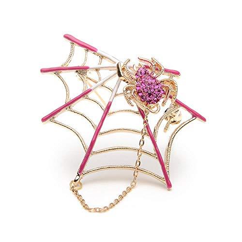 ZWLZQ Broschen Brosche Strass Schwarz Rosa Magnet Spinne Und Spinnennetz Brosche Frauen Männer Anzüge Broschen Pin Halloween Dekorieren Zubehör rosa (Dekorieren Halloween Taschen)