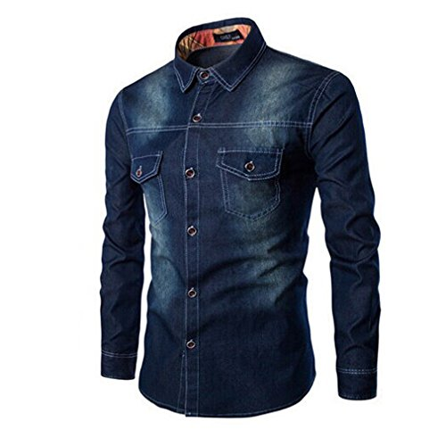 Honghu Herren Langarm Jeans Neu Look Hemd Schwarz M