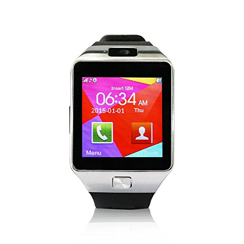 YUNTAB SW01 Bluetooth Smart Watch pantalla LCD 1.56' (240x240), Bluetooth 3.0 ,SIM tarjeta, CON CÁMARA smartphone Android Samsung S2/S3/S4/Note 2/Note 3 HTC Nokia IOS Apple iphone 4/4S/5/5C/5S/6 (negro)