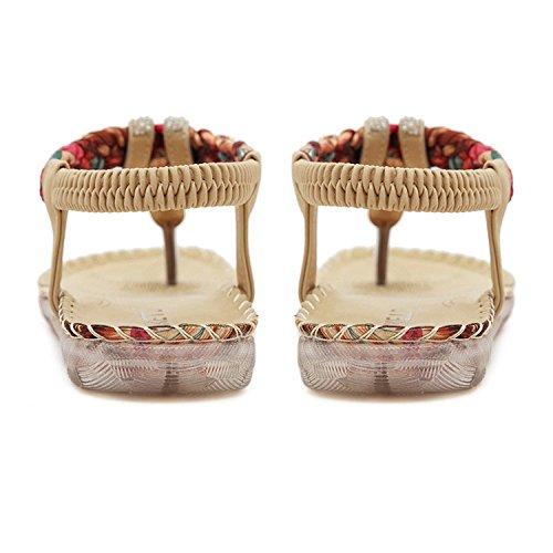 Minetom Damen Sommer Strandschuhe Böhmische Stil Schuhe Strass Flip Flops Peep Toe Flache Sandalen Aprikose