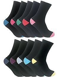 Sock Snob - Femme couleurs assorties talon et des orteils noires chaussettes avec douces coton dans un multipack Heel & Toe