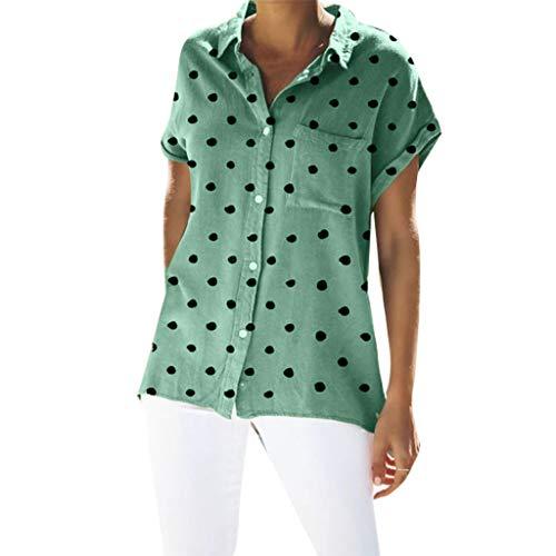 TOPSELD T Shirt Damen, Women Casual Plus Size Short Sleeve Polka Dot Printed Knopf Tasche Spitzenbluse
