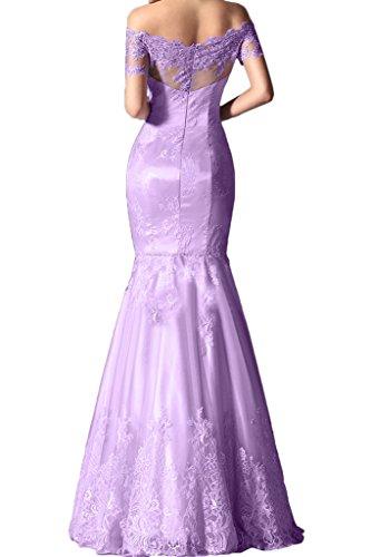 Ivydressing Damen Hochwertig U-Ausschnitt Spitze Promkleid Festkleid Mermaid Partykleid Abendkleid Lila