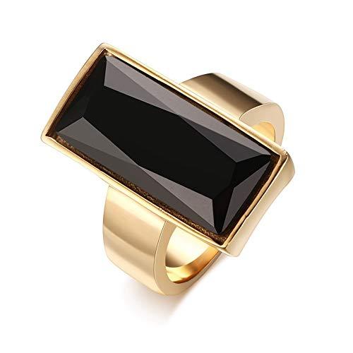 Herren Ring,Mens Schwarzes Glas Kristall Ring Gold - Farbe Rechteckig Edelstahl Ring Modeschmuck Bester Freund Geschenk Geburtstag, 8. -