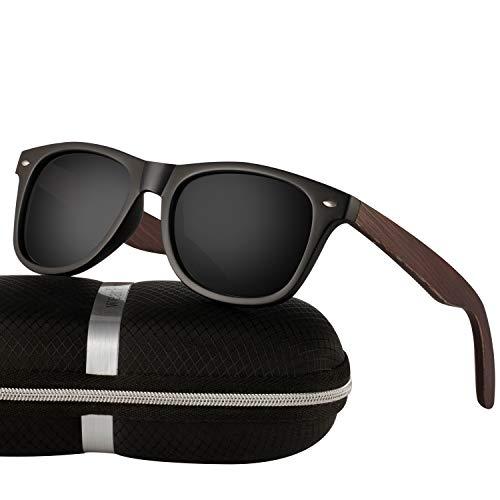 wearpro Sonnenbrille Herren Polarisierte Walnussholz Holz Männer Frauen Sonnenbrillen UV400 Mode für das Reisen mit polarisierten Gläsern W1003 (W MBlackNail)