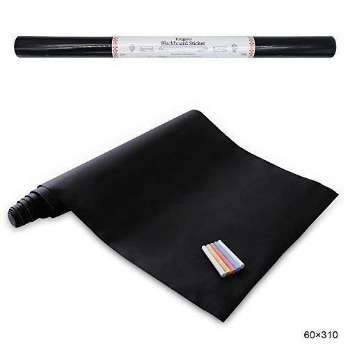Stickers Tableau Noir Ardoise - Tableau Noir Autocollant Repositionnable - 60cm x 310cm 5 craies - Ezigoo