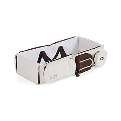 Innovaciones MS Minicuna pitusa portatil marron chocolate y blanca