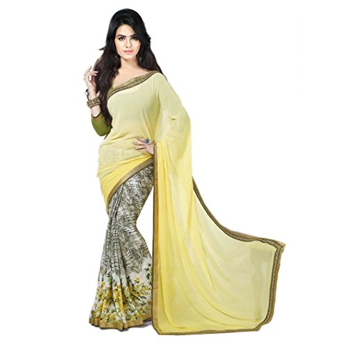 Janasya Women's Yellow Half Half Georgette Printed Saree (JNE0928-SRE-YELLOW)  available at amazon for Rs.499