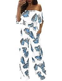 PAOLIAN Pantalones Monos Largos de Mujer Verano 2018 Casual Ropa de Mujer Sin Tirantes Mangas Corta Estampado Flores Pantalones de Vestir Palazzo Pantalones Anchos Cintura Alta Fiesta
