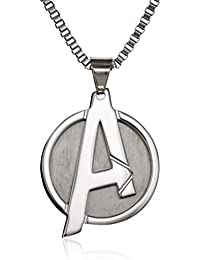 "Marvel Comics Unisex ""A"" Logo Avengers Stainless Steel Chain Pendant Necklace, 24"""